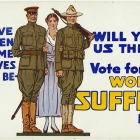 """Vote for Woman Suffrage, November 6th"" ""We give our men, our time, our lives, if need be-Will you give us the vote?"""