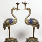 Cloisonné Crane Candle Holders