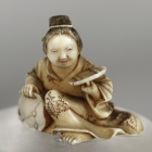 Woman Holding Bowl Netsuke