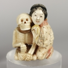 Skeleton and Oiran, Netsuke