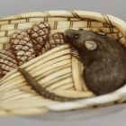 Rat in Rice Basket Netsuke