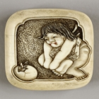 Boy Watching Bird Hatch Netsuke