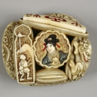 Seioo, Shi-Shi, Male Figure and Seals Netsuke
