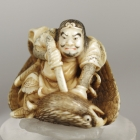 Warrior Slaying an Eagle Netsuke