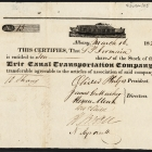 Stock Certificate for the Erie Canal Transportation Company