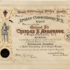 Knights Templar Honorary Membership Certificate