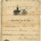 Daniel D. Tompkins certificate, Engine Co. No. VIII