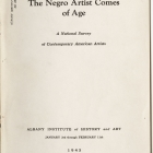 Frontispiece from The Negro Artist Comes of Age: A National Survey of Contemporary Artists, Albany Institute of History and Art