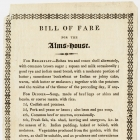 Albany Alms House Bill of Fare