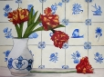 Still Life Delft Tiles and Tulips 8x11 - Victoria Whitney