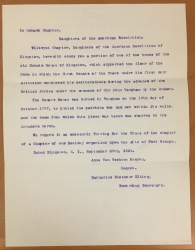 Typed copy of correspondence relating to the donation of a relic, 1895.JPG